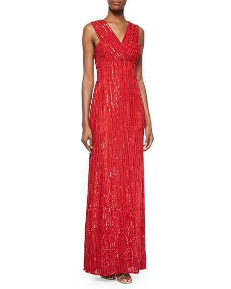 Rachel Gilbert Talena Sequined Surplice Gown, Crimson