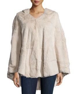 Hooded Fur Poncho, Nude