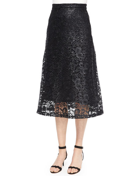 A.L.C. Kennedy Coated Lace Skirt, Black