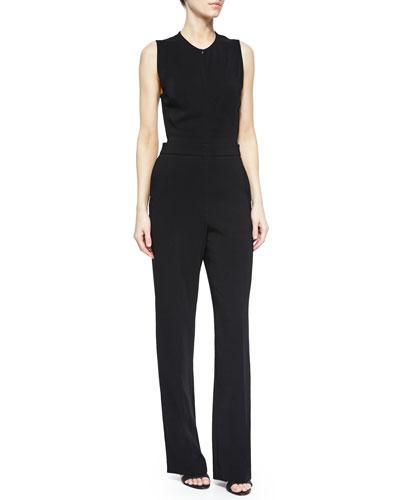 Andrea Sleeveless Crepe Jumpsuit, Black