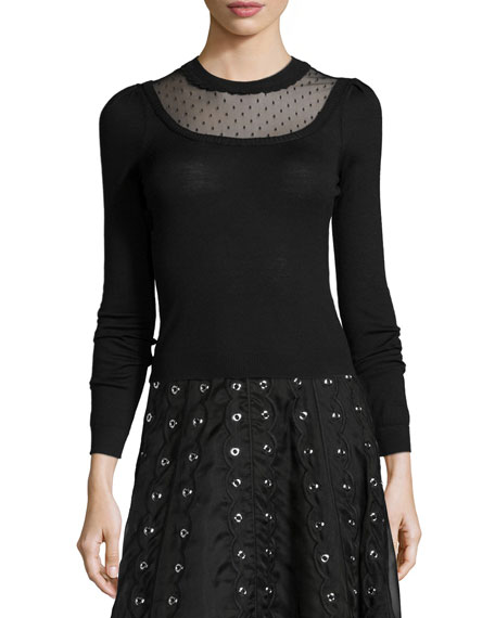 RED Valentino Long-Sleeve Sweater W/ Swiss Dot Detail