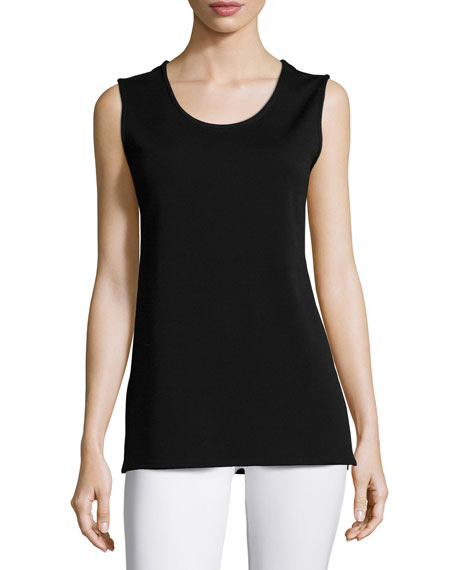 Caroline Rose Wool Knit Longer Tank, Black, Petite