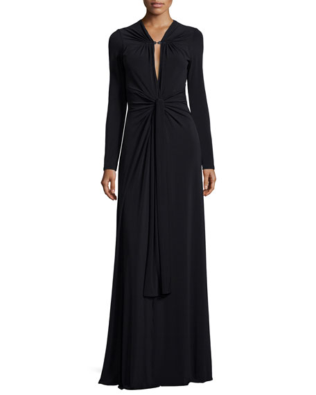 Halston Heritage Long-Sleeve Keyhole-Neck Jersey Gown