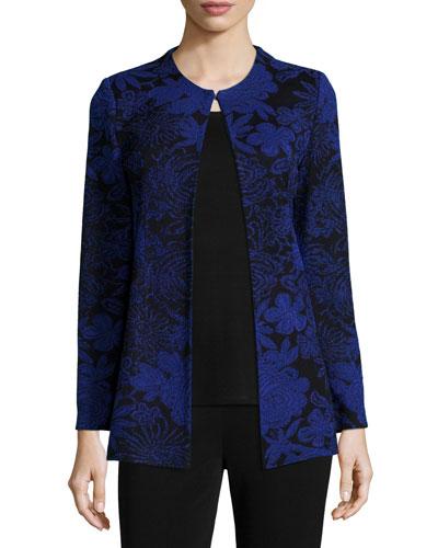 Long-Sleeve Floral-Print Jacket, Petite