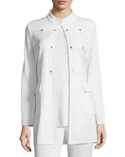 Misook Studded Long Jacket, Cream, Women's