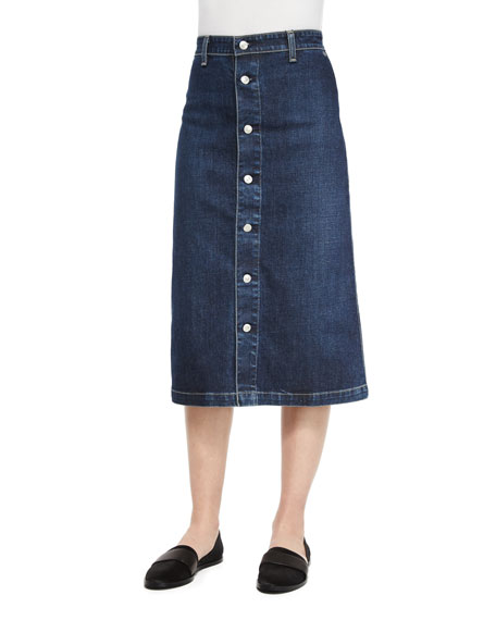 Alexa Chung for AG Cool Button-Front Denim Skirt,