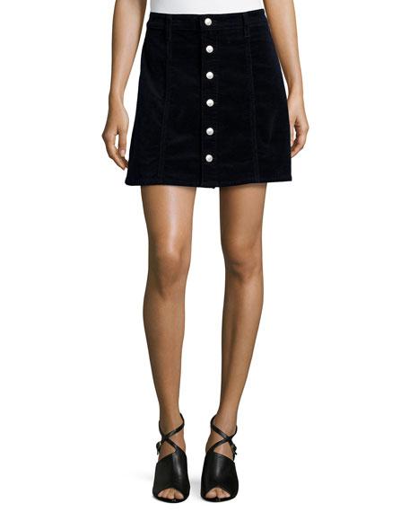Alexa Chung for AG Kety Button-Front Denim Skirt,