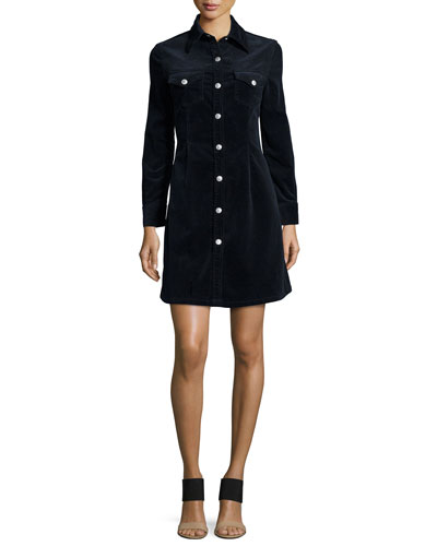 Pixie Long-Sleeve Denim Shirtdress, Dark Navy