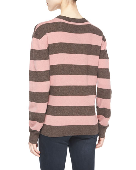Striped Wales Pullover Sweater, Clover Pink/Chocolate