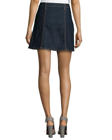 The Kety Button-Front Denim Skirt, Lonestar