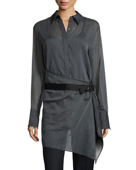 Striped Tunic Shirt with Belt, Black/White