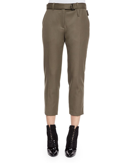 3.1 Phillip Lim Cropped Wool Utility Pants, Olive