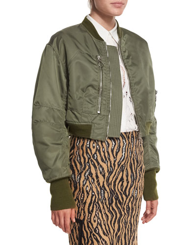 Cropped Flight Jacket, Army