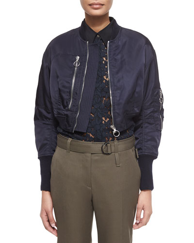Cropped Flight Jacket, Midnight