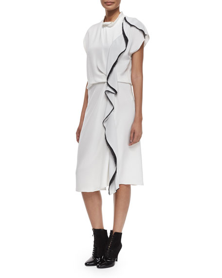 3.1 Phillip Lim Distorted Ruffle Silk Dress, Antique