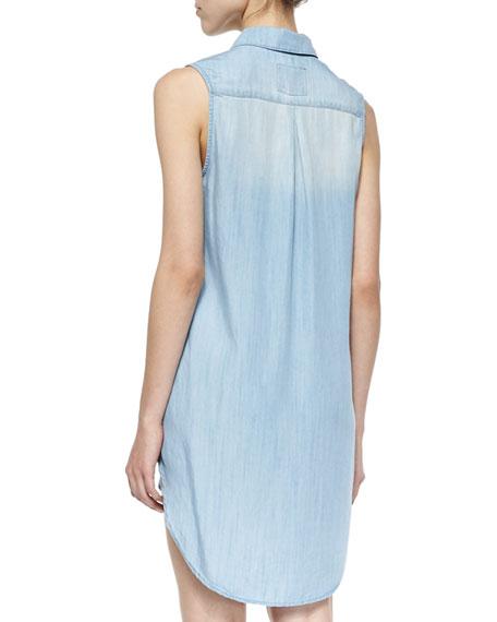 Elizabeth Sleeveless Denim Shirtdress, Light Vintage