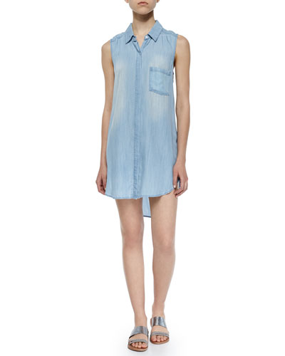 Elizabeth Sleeveless Denim Shirtdress, Light Vintage
