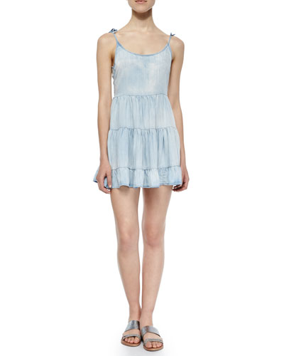 Tiered Denim Freya Dress, Marble Wash