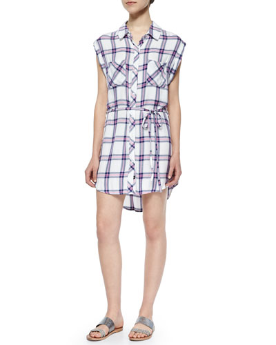 Brooke Plaid Shirtdress, Pink/Marine