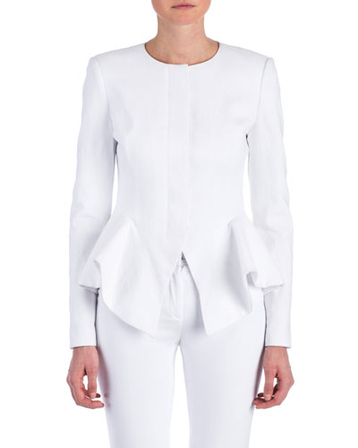 Claudia Long-Sleeve Peplum Jacket, White