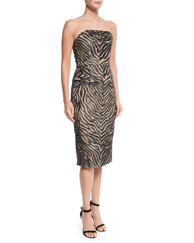 Strapless Animal-Print Sheath Dress, Zebra