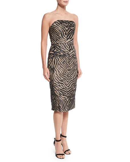 Christian Siriano Strapless Animal-Print Sheath Dress, Zebra
