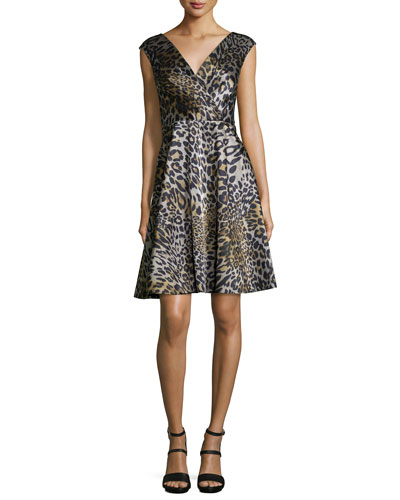 Cap-Sleeve V-Neck Dress, Leopard