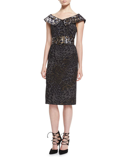 Cap-Sleeve V-Neck Belted Dress, Leopard