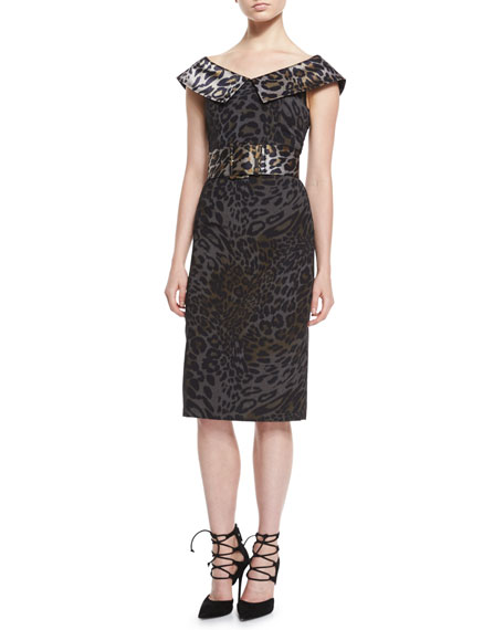 Christian Siriano Cap-Sleeve V-Neck Belted Dress, Leopard