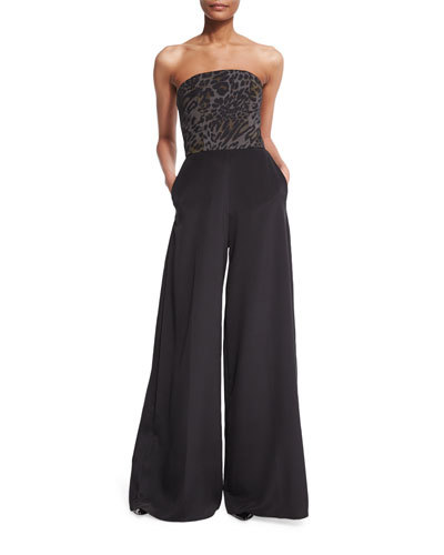 Christian Siriano Strapless Leopard-Bodice Jumpsuit. Black/Leopard