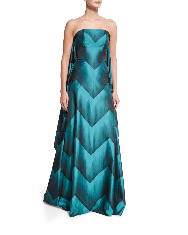 Christian Siriano Strapless Chevron Ball Gown, Teal   Neiman Marcus