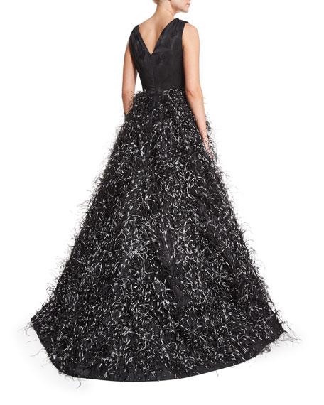 Sleeveless Feather-Skirt Gown, Black/White