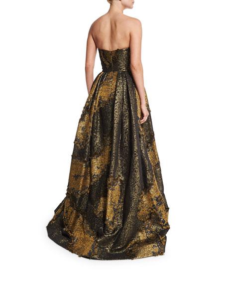 Strapless Metallic Ball Gown, Gold