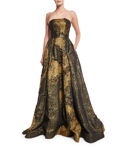 Strapless Metallic Ball Gown, Gold