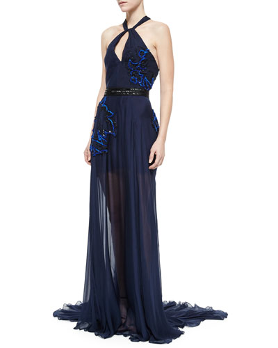 Sleeveless Twist-Front Embellished Gown, Navy