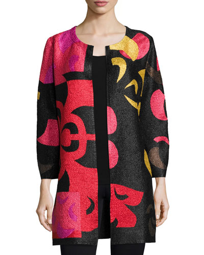 Queen Alex Graphic-Print Crinkled Long Jacket