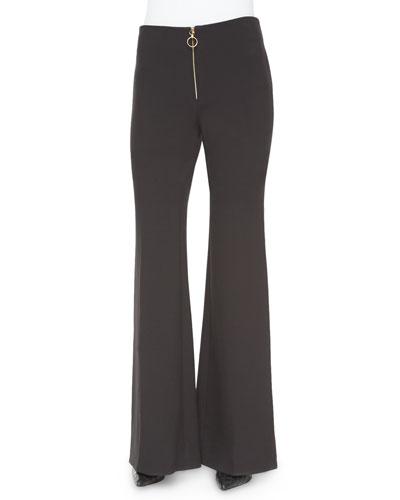 Emma Zip-Front Flare-Leg Pants, Gray