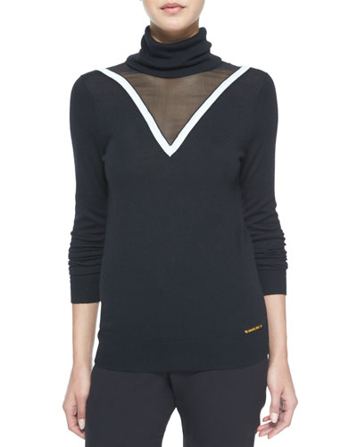Carsyn Mesh-Trim Turtleneck Sweater, Black