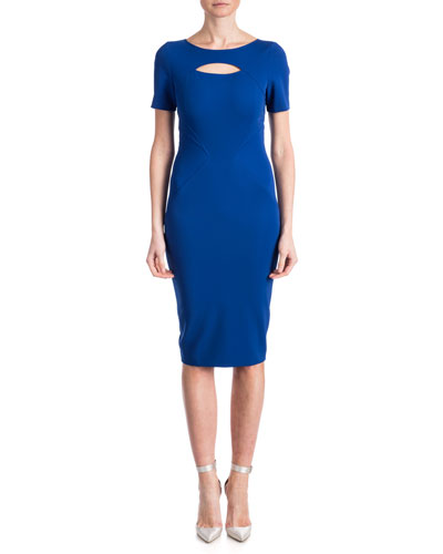 Brenda Short-Sleeve Cutout-Top Sheath Dress