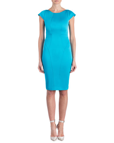 Isabel Cap-Sleeve Contour Sheath Dress, Cyprus