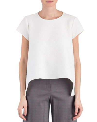 Jacquard Juni Short-Sleeve Top, White
