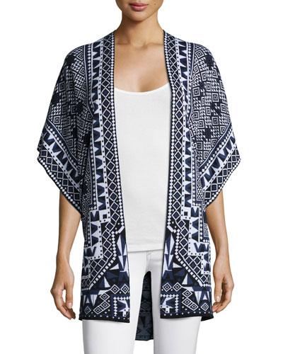 Geo Jacquard Cardigan Sweater
