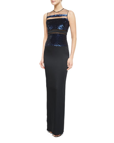 Sleeveless Sequin-Stripe Gown, Black
