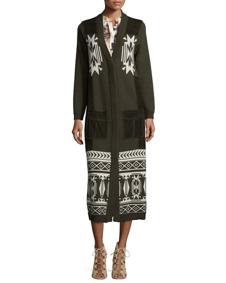 Haute Hippie Jacquard Long Coat w/Suede Pockets, Military