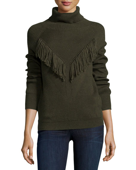 Ribbed Turtleneck with Fringe, Military