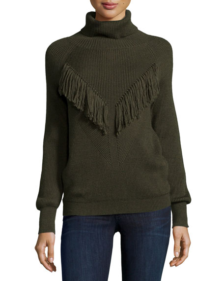 Haute HippieRibbed Turtleneck with Fringe, Military
