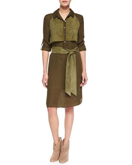 Haute Hippie Long-Sleeve Two-Tone Belted Dress, Military