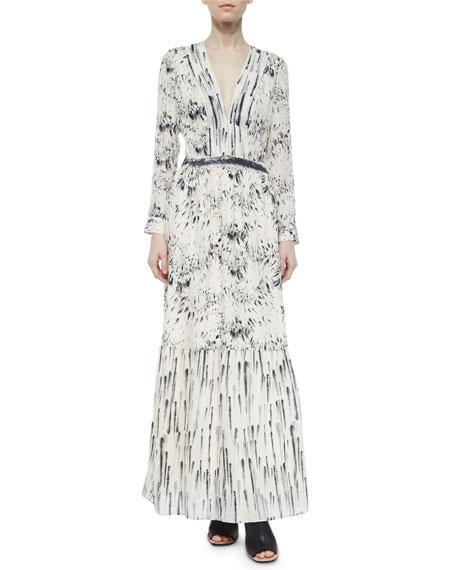 Haute Hippie Printed Deep-V Maxi Dress