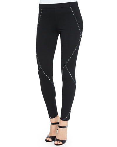Ponte Leggings w/Stud Detail, Black
