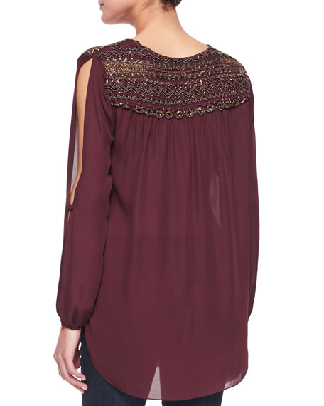 Embellished-Shoulder Front-Tie Blouse, Fig